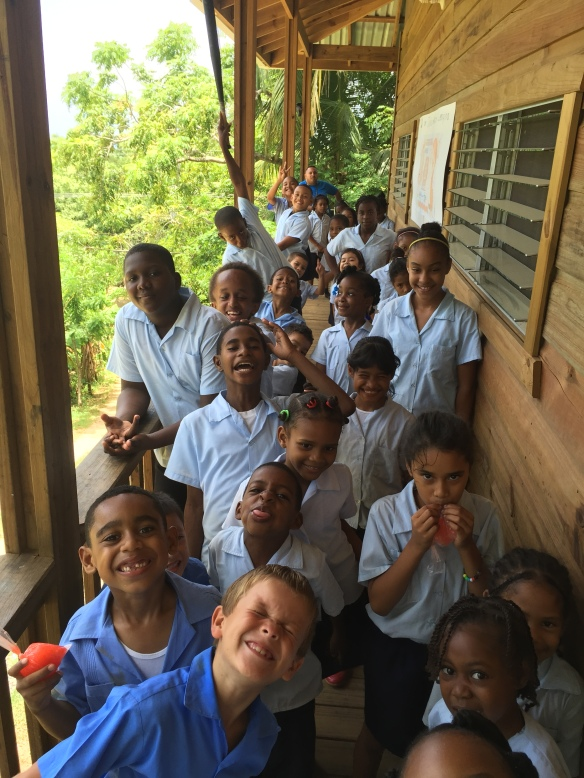 Students in a primary school in Roatan.