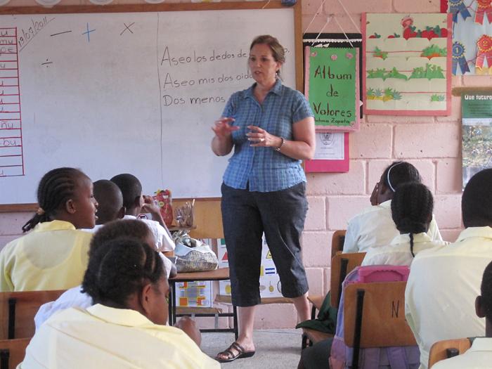 Pam teaching class.