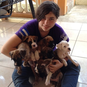 Nicole, my house guest this week with all six puppies. Lots of love, licks and puppy breath.
