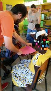 Jon working with the students in Corazal. Shaving cream, food coloring and creative hands, a great combination