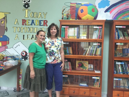 Iris Carranza the Directora of the Anne Fowler Bilingual School and I in the new library. It is beautiful!